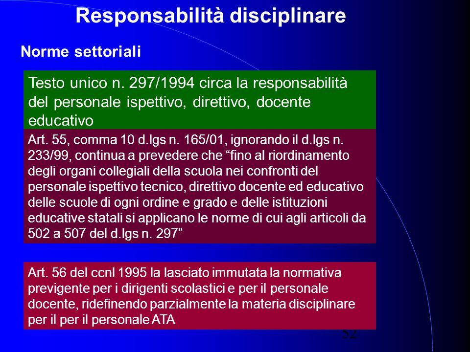 52 Responsabilità disciplinare Norme settoriali Testo unico n.