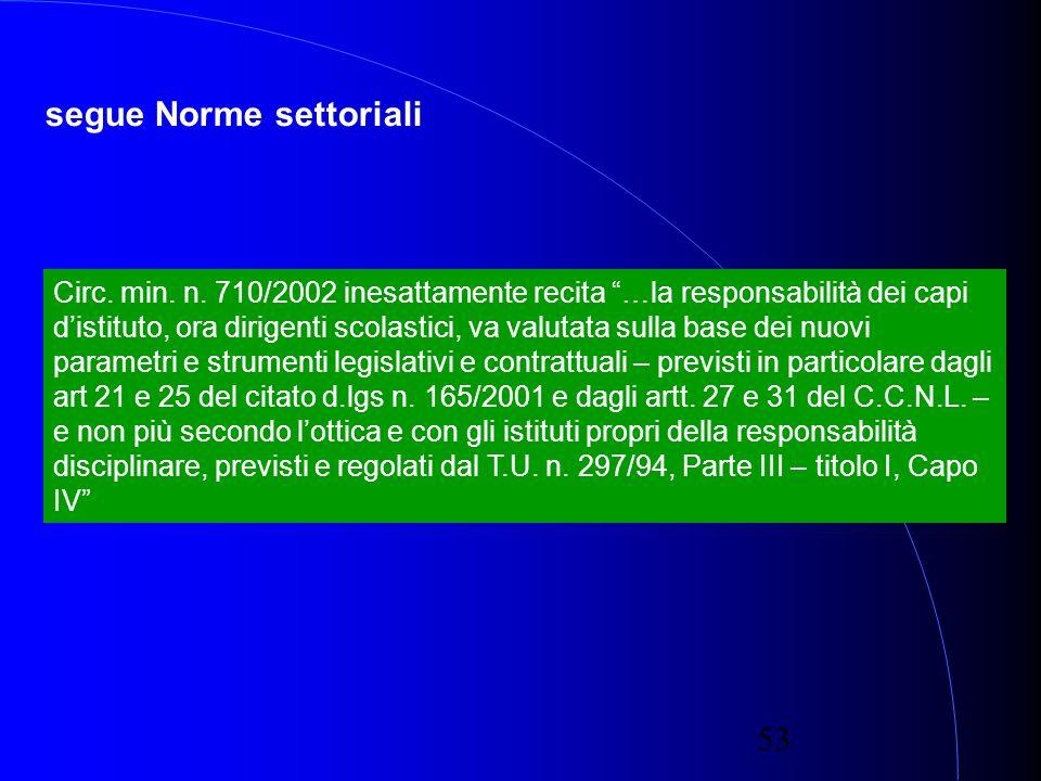 53 segue Norme settoriali Circ. min. n.