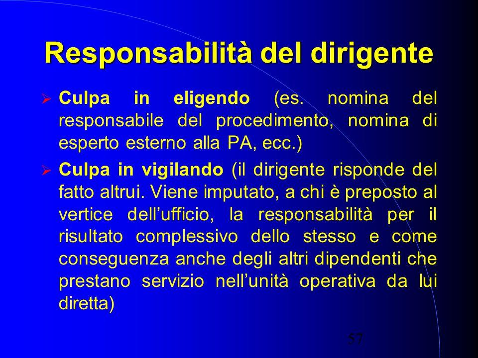 57 Responsabilità del dirigente Culpa in eligendo (es.