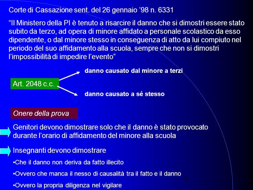 7 Corte di Cassazione sent. del 26 gennaio 98 n.