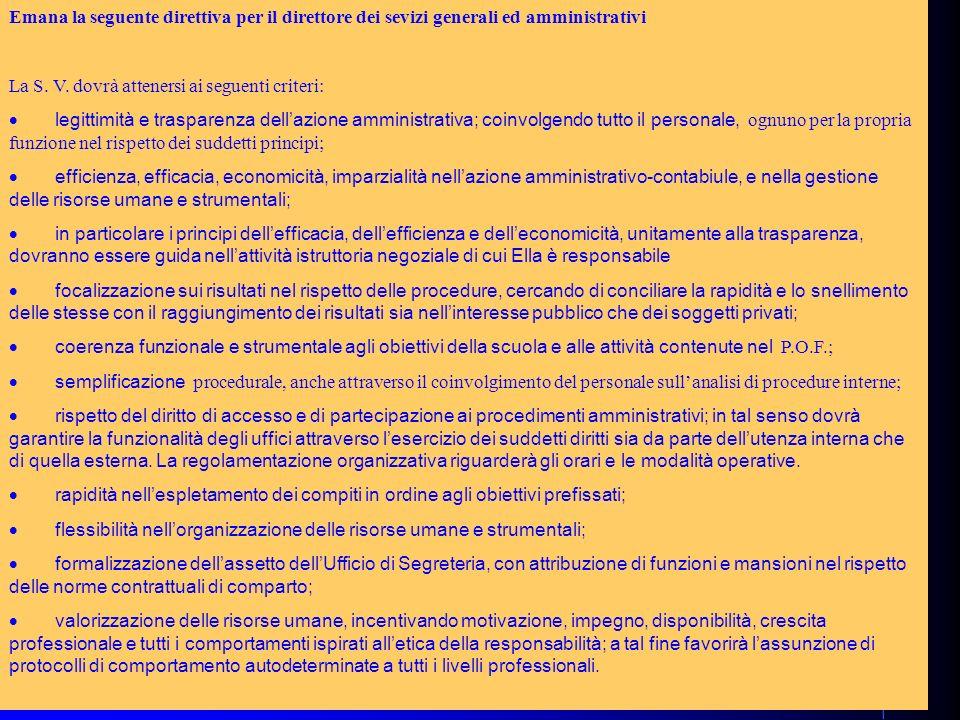 71 Emana la seguente direttiva per il direttore dei sevizi generali ed amministrativi La S.