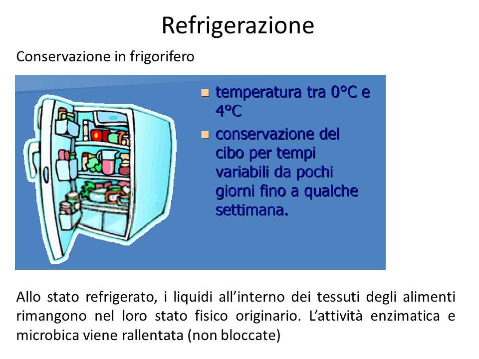 Refrigerazione Conservazione in frigorifero Allo stato refrigerato, i liquidi allinterno dei tessuti degli alimenti rimangono nel loro stato fisico or