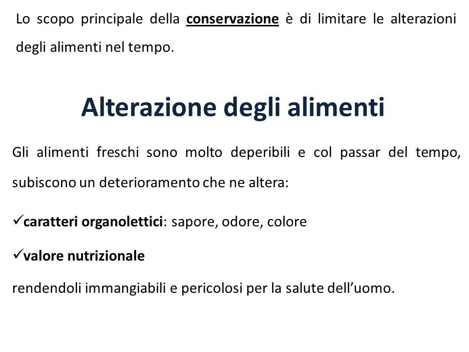 Alterazione degli alimenti Gli alimenti freschi sono molto deperibili e col passar del tempo, subiscono un deterioramento che ne altera: caratteri org