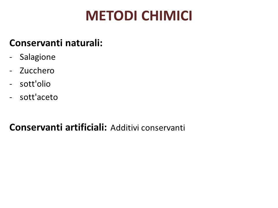 METODI CHIMICI Conservanti naturali: -Salagione -Zucchero -sott'olio -sott'aceto Conservanti artificiali: Additivi conservanti