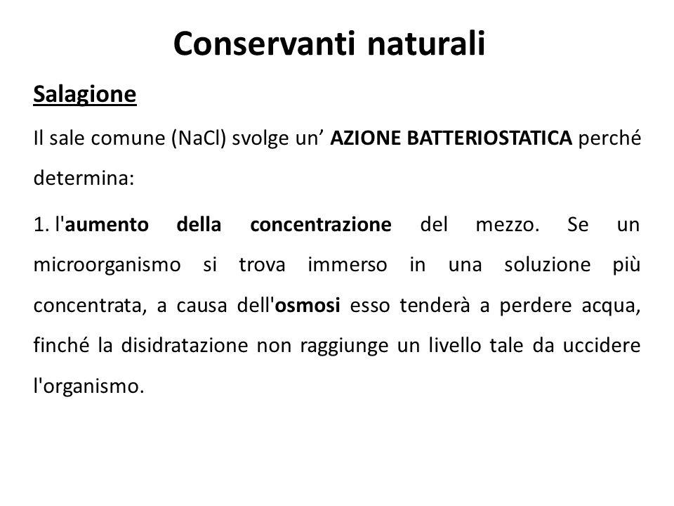 Conservanti naturali Salagione Il sale comune (NaCl) svolge un AZIONE BATTERIOSTATICA perché determina: 1. l'aumento della concentrazione del mezzo. S