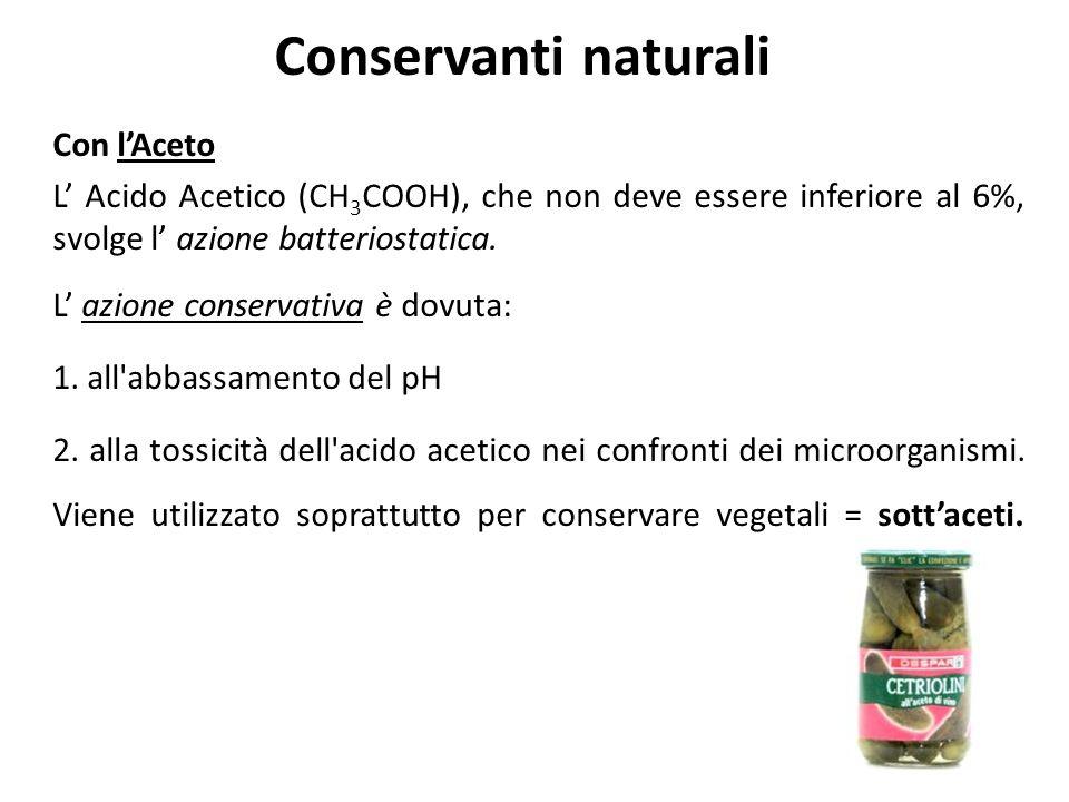 Conservanti naturali Con lAceto L Acido Acetico (CH 3 COOH), che non deve essere inferiore al 6%, svolge l azione batteriostatica. L azione conservati