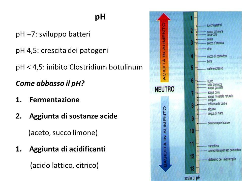pH pH 7: sviluppo batteri pH 4,5: crescita dei patogeni pH < 4,5: inibito Clostridium botulinum Come abbasso il pH? 1.Fermentazione 2.Aggiunta di sost