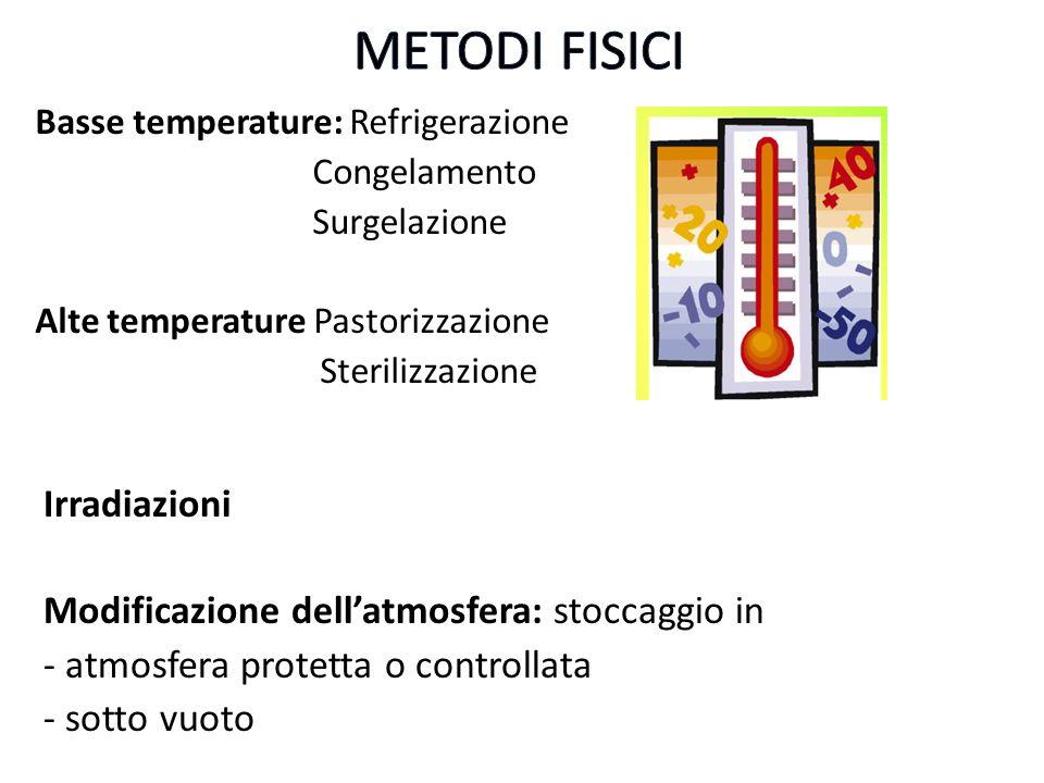 Basse temperature: Refrigerazione Congelamento Surgelazione Alte temperature Pastorizzazione Sterilizzazione Irradiazioni Modificazione dellatmosfera: