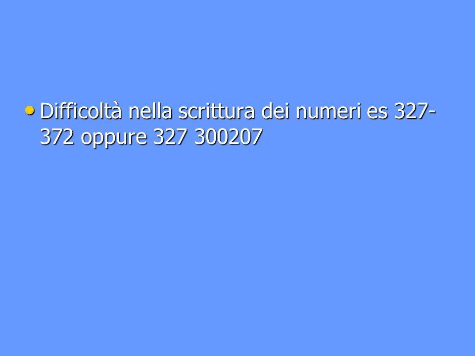 Difficoltà nella scrittura dei numeri es 327- 372 oppure 327 300207 Difficoltà nella scrittura dei numeri es 327- 372 oppure 327 300207