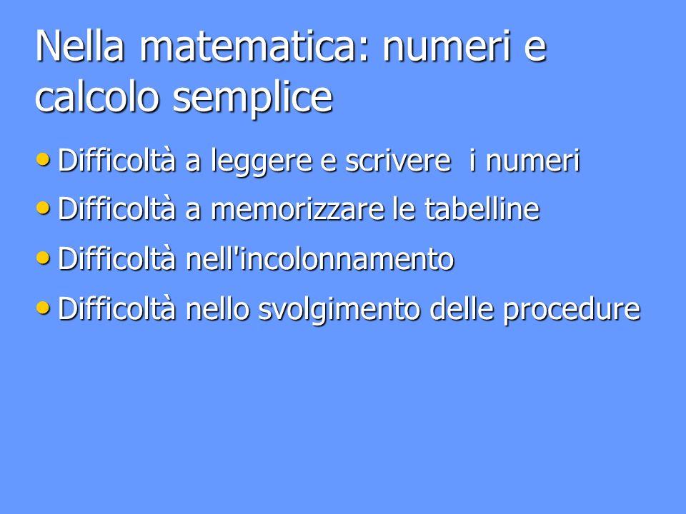 Nella matematica: numeri e calcolo semplice Difficoltà a leggere e scrivere i numeri Difficoltà a leggere e scrivere i numeri Difficoltà a memorizzare le tabelline Difficoltà a memorizzare le tabelline Difficoltà nell incolonnamento Difficoltà nell incolonnamento Difficoltà nello svolgimento delle procedure Difficoltà nello svolgimento delle procedure