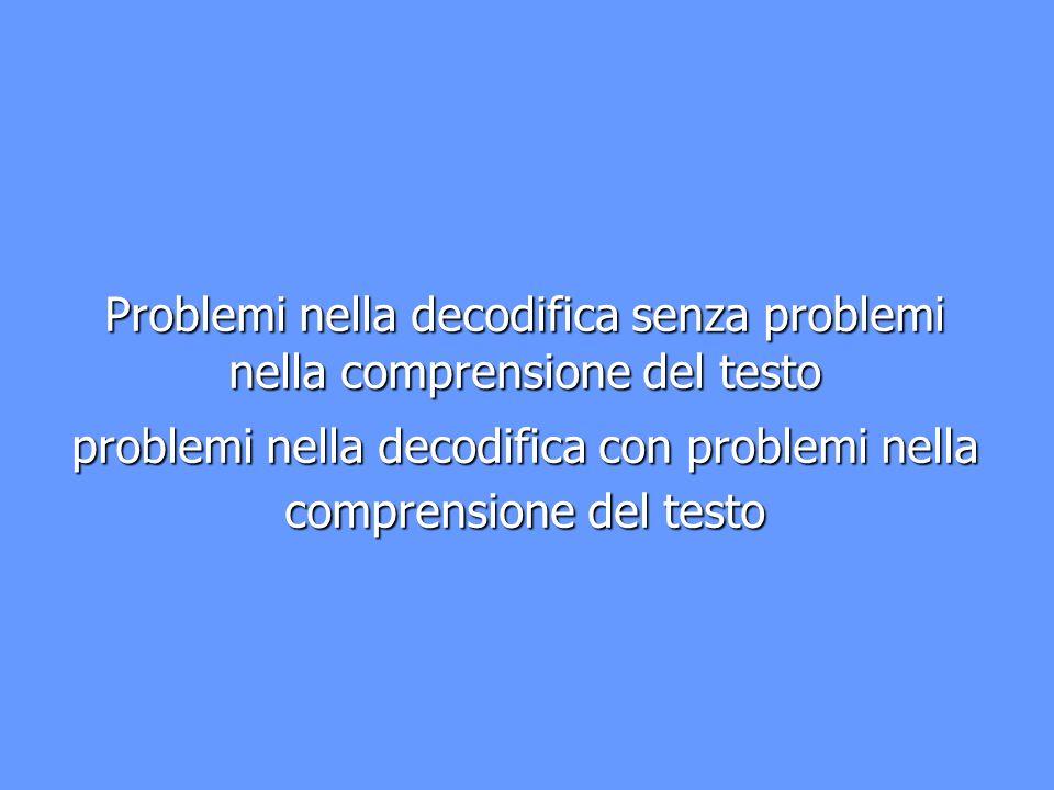 Problemi nella decodifica senza problemi nella comprensione del testo problemi nella decodifica con problemi nella comprensione del testo