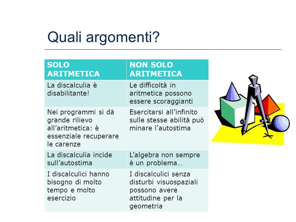 Quali argomenti? SOLO ARITMETICA NON SOLO ARITMETICA La discalculia è disabilitante! Le difficoltà in aritmetica possono essere scoraggianti Nei progr