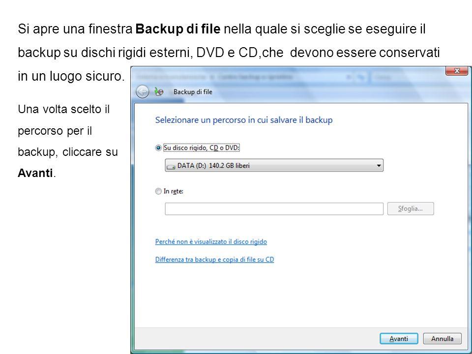 Si apre una finestra Backup di file nella quale si sceglie se eseguire il backup su dischi rigidi esterni, DVD e CD,che devono essere conservati in un