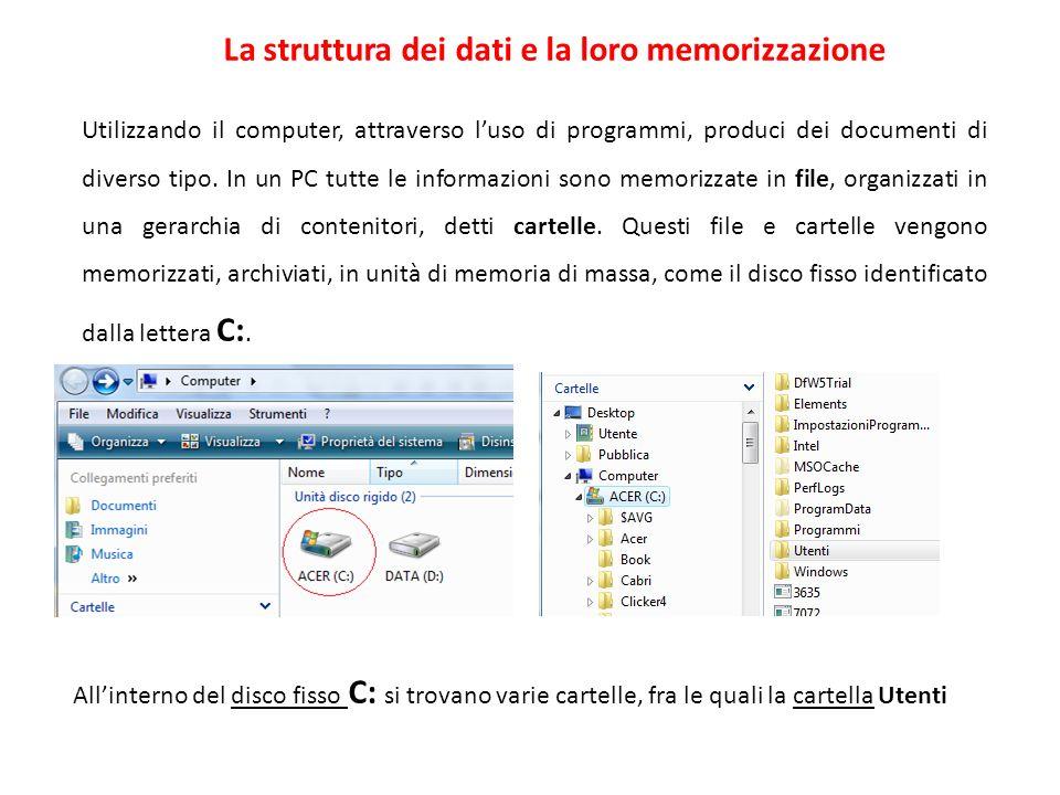 La struttura dei dati e la loro memorizzazione Utilizzando il computer, attraverso luso di programmi, produci dei documenti di diverso tipo. In un PC