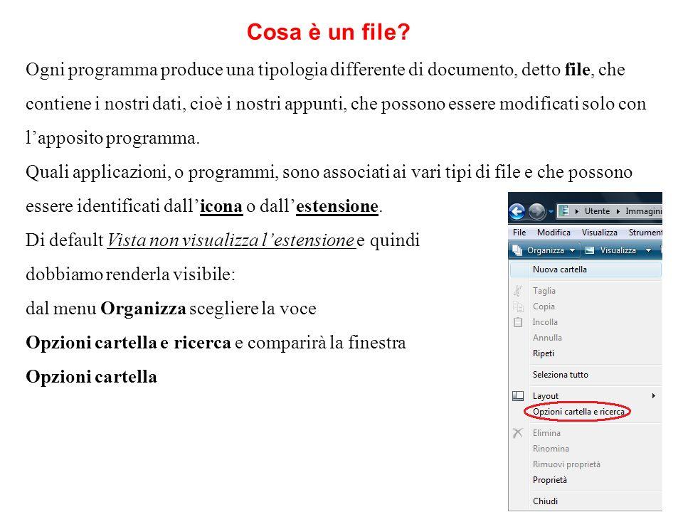 Ogni programma produce una tipologia differente di documento, detto file, che contiene i nostri dati, cioè i nostri appunti, che possono essere modifi