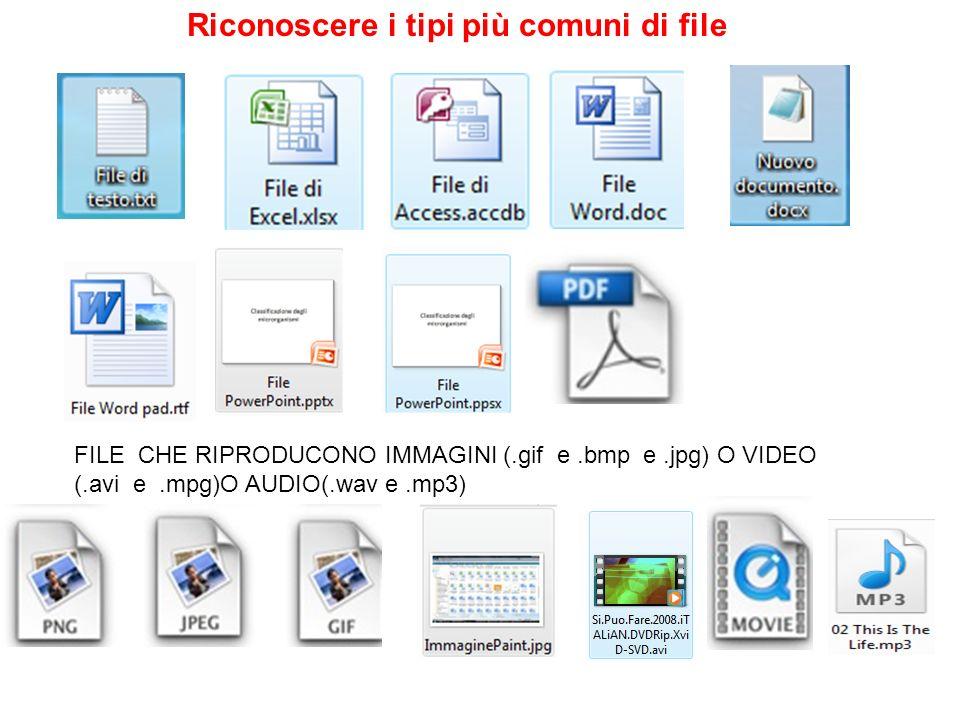 Riconoscere i tipi più comuni di file FILE CHE RIPRODUCONO IMMAGINI (.gif e.bmp e.jpg) O VIDEO (.avi e.mpg)O AUDIO(.wav e.mp3)