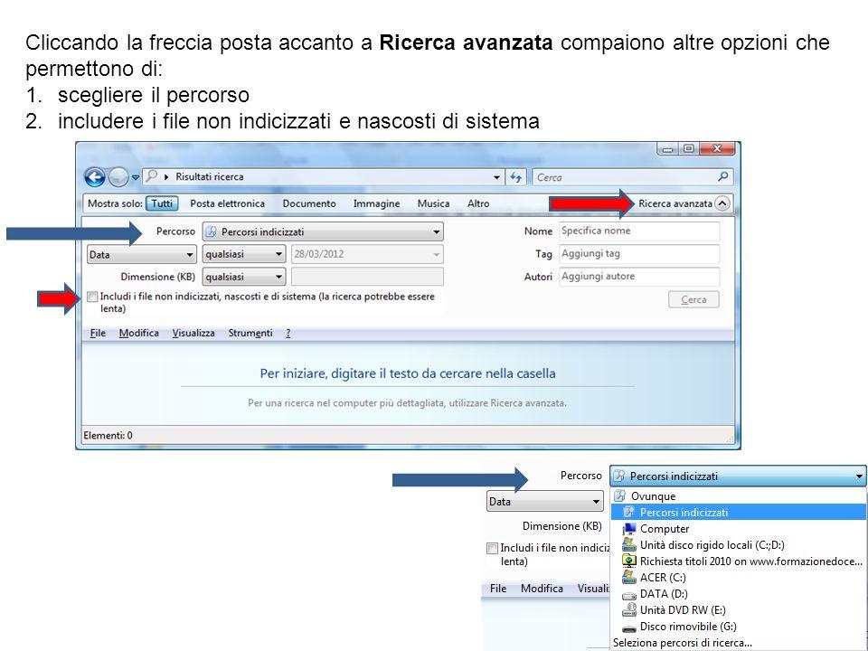 Cliccando la freccia posta accanto a Ricerca avanzata compaiono altre opzioni che permettono di: 1.scegliere il percorso 2.includere i file non indici
