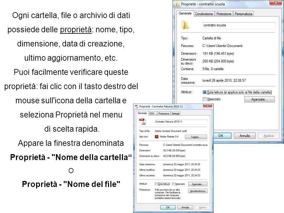 Ogni cartella, file o archivio di dati possiede delle proprietà: nome, tipo, dimensione, data di creazione, ultimo aggiornamento, etc. Puoi facilmente