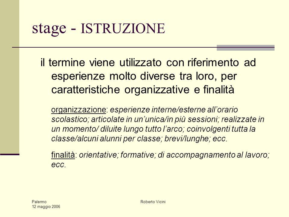 Palermo 12 maggio 2006 Roberto Vicini stage - ISTRUZIONE il termine viene utilizzato con riferimento ad esperienze molto diverse tra loro, per caratte