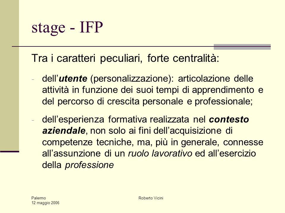 Palermo 12 maggio 2006 Roberto Vicini stage - IFP Tra i caratteri peculiari, forte centralità: - dellutente (personalizzazione): articolazione delle a