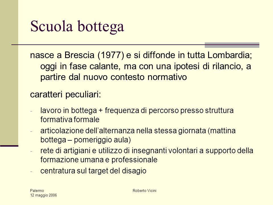 Palermo 12 maggio 2006 Roberto Vicini Scuola bottega nasce a Brescia (1977) e si diffonde in tutta Lombardia; oggi in fase calante, ma con una ipotesi