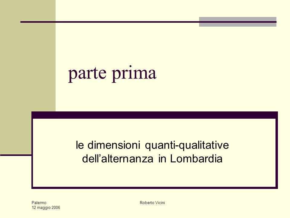 Palermo 12 maggio 2006 Roberto Vicini parte prima le dimensioni quanti-qualitative dellalternanza in Lombardia