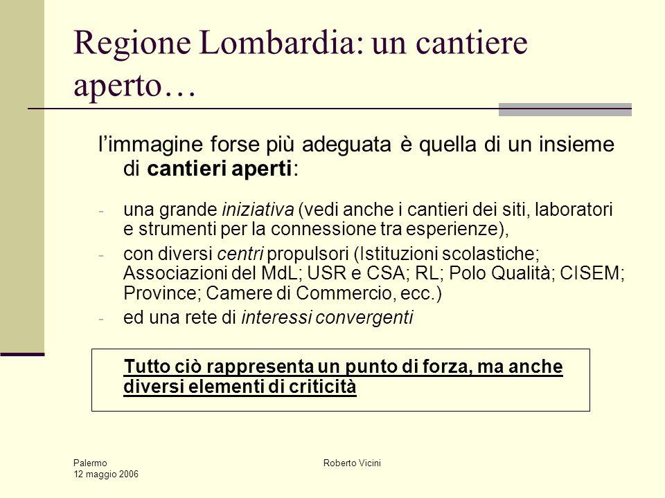 Palermo 12 maggio 2006 Roberto Vicini Regione Lombardia: un cantiere aperto… limmagine forse più adeguata è quella di un insieme di cantieri aperti: -
