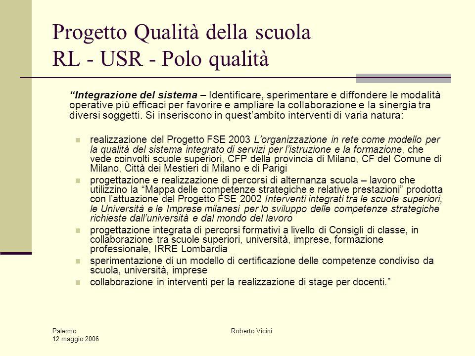 Palermo 12 maggio 2006 Roberto Vicini Progetto Qualità della scuola RL - USR - Polo qualità Integrazione del sistema – Identificare, sperimentare e diffondere le modalità operative più efficaci per favorire e ampliare la collaborazione e la sinergia tra diversi soggetti.