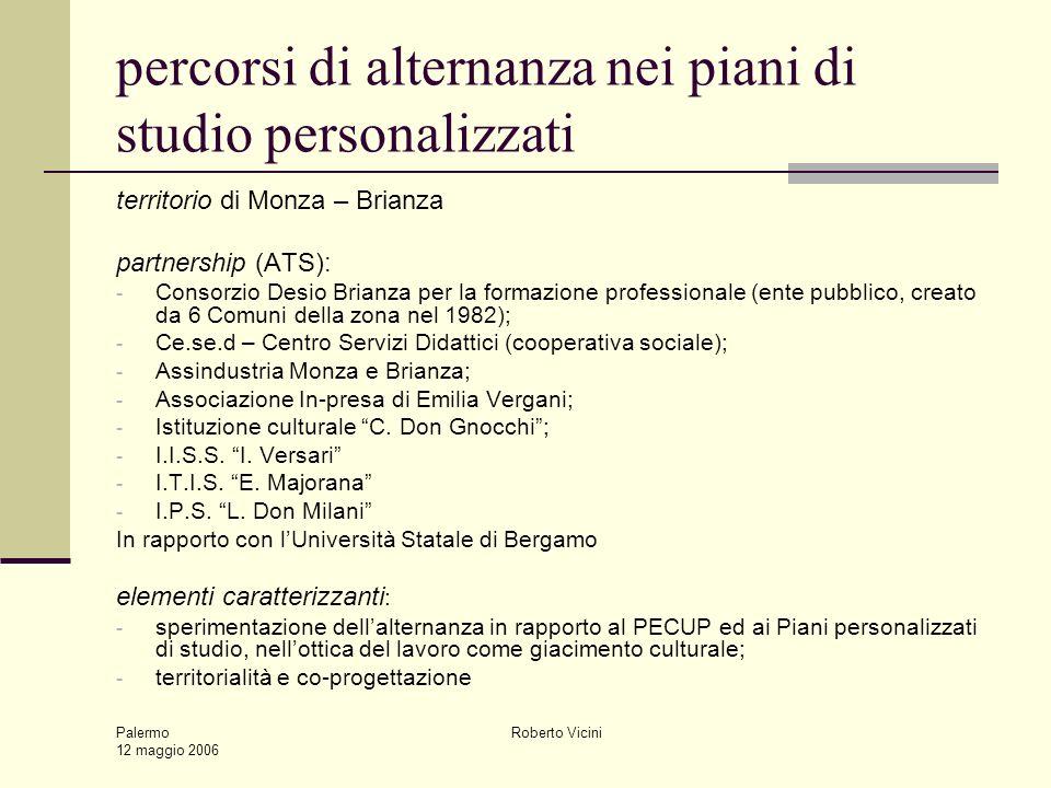 Palermo 12 maggio 2006 Roberto Vicini percorsi di alternanza nei piani di studio personalizzati territorio di Monza – Brianza partnership (ATS): - Con