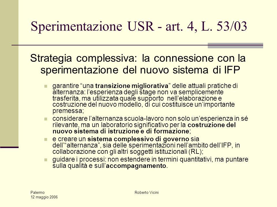Palermo 12 maggio 2006 Roberto Vicini Sperimentazione USR - art. 4, L. 53/03 Strategia complessiva: la connessione con la sperimentazione del nuovo si