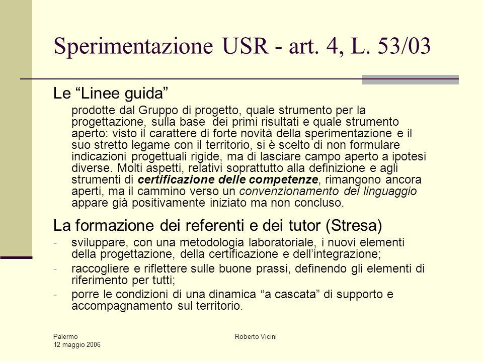 Palermo 12 maggio 2006 Roberto Vicini Sperimentazione USR - art. 4, L. 53/03 Le Linee guida prodotte dal Gruppo di progetto, quale strumento per la pr