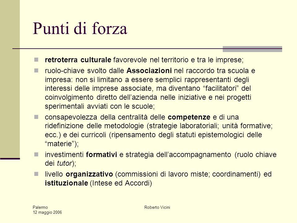 Palermo 12 maggio 2006 Roberto Vicini Punti di forza retroterra culturale favorevole nel territorio e tra le imprese; ruolo-chiave svolto dalle Associ