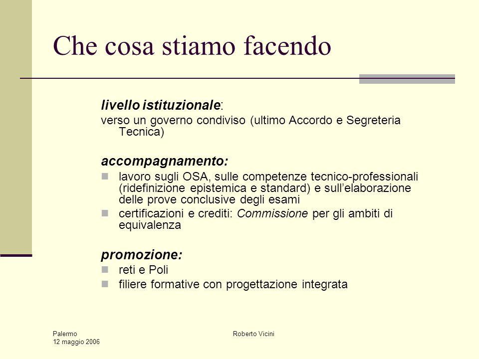 Palermo 12 maggio 2006 Roberto Vicini Che cosa stiamo facendo livello istituzionale: verso un governo condiviso (ultimo Accordo e Segreteria Tecnica)