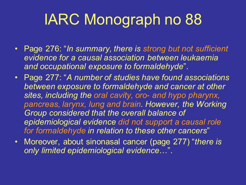 IARC Monograph no 88 Page 276: In summary, there is strong but not sufficient evidence for a causal association between leukaemia and occupational exp
