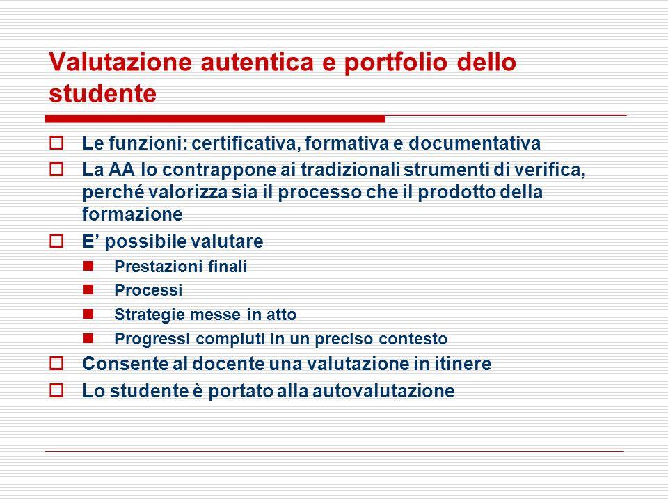 Valutazione autentica e portfolio dello studente Le funzioni: certificativa, formativa e documentativa La AA lo contrappone ai tradizionali strumenti