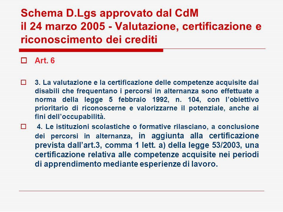 Schema D.Lgs approvato dal CdM il 24 marzo 2005 - Valutazione, certificazione e riconoscimento dei crediti Art. 6 3. La valutazione e la certificazion