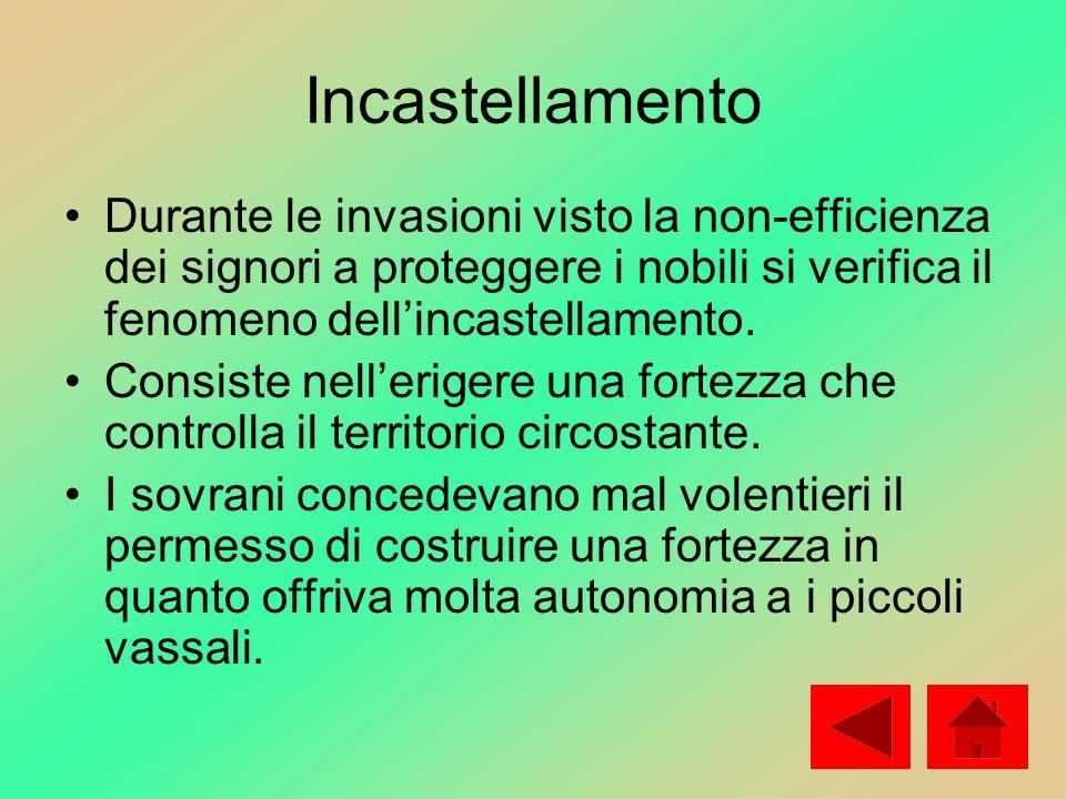 Incastellamento Durante le invasioni visto la non-efficienza dei signori a proteggere i nobili si verifica il fenomeno dellincastellamento. Consiste n