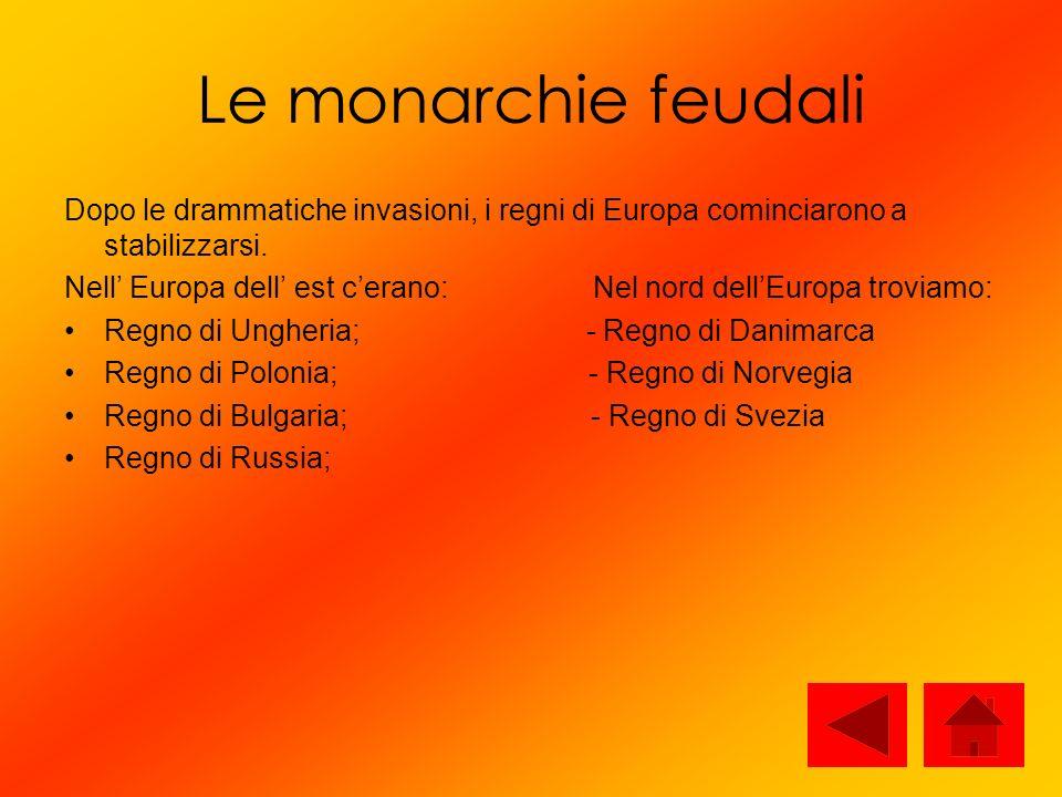 Le monarchie feudali Dopo le drammatiche invasioni, i regni di Europa cominciarono a stabilizzarsi. Nell Europa dell est cerano: Nel nord dellEuropa t