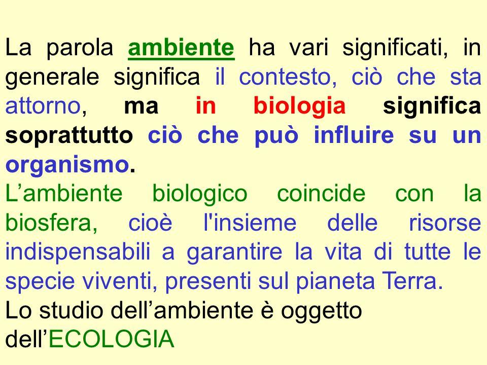 La parola ambiente ha vari significati, in generale significa il contesto, ciò che sta attorno, ma in biologia significa soprattutto ciò che può influire su un organismo.
