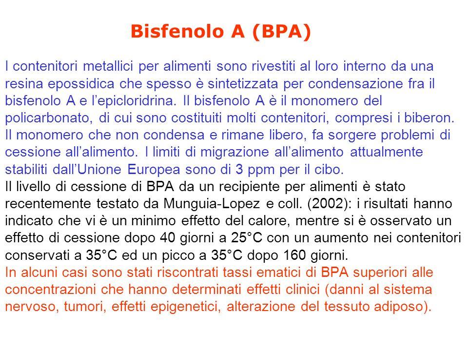 Bisfenolo A (BPA) I contenitori metallici per alimenti sono rivestiti al loro interno da una resina epossidica che spesso è sintetizzata per condensazione fra il bisfenolo A e lepicloridrina.