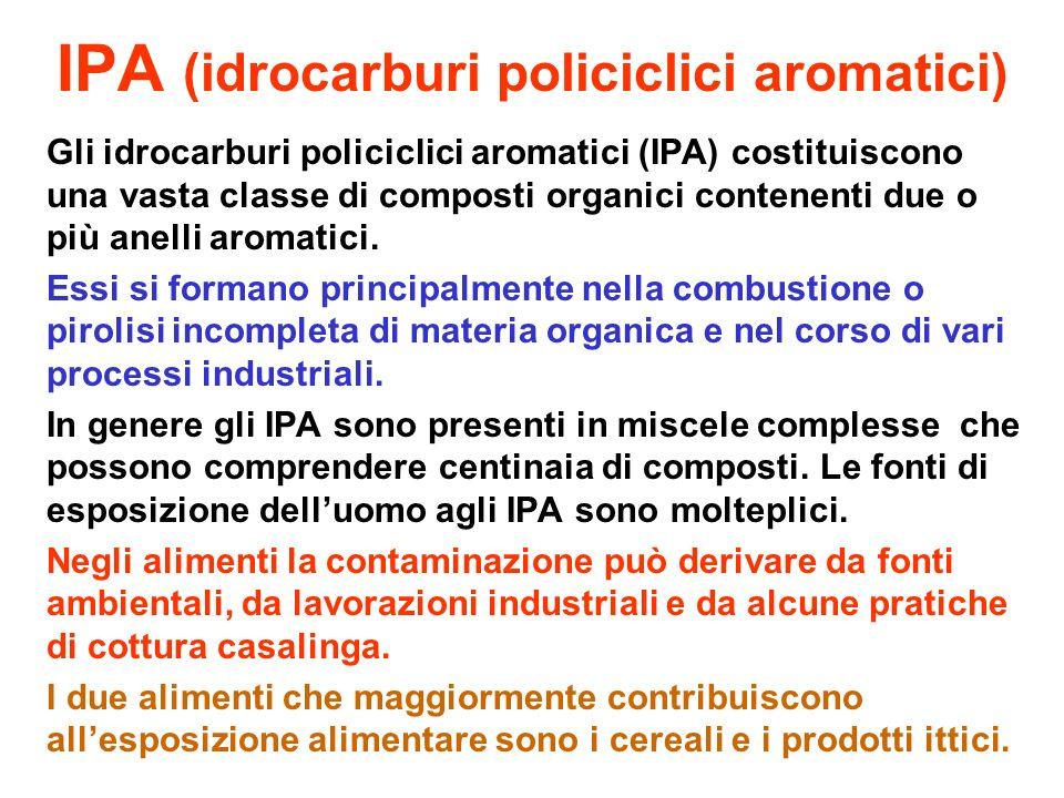 IPA (idrocarburi policiclici aromatici) Gli idrocarburi policiclici aromatici (IPA) costituiscono una vasta classe di composti organici contenenti due o più anelli aromatici.