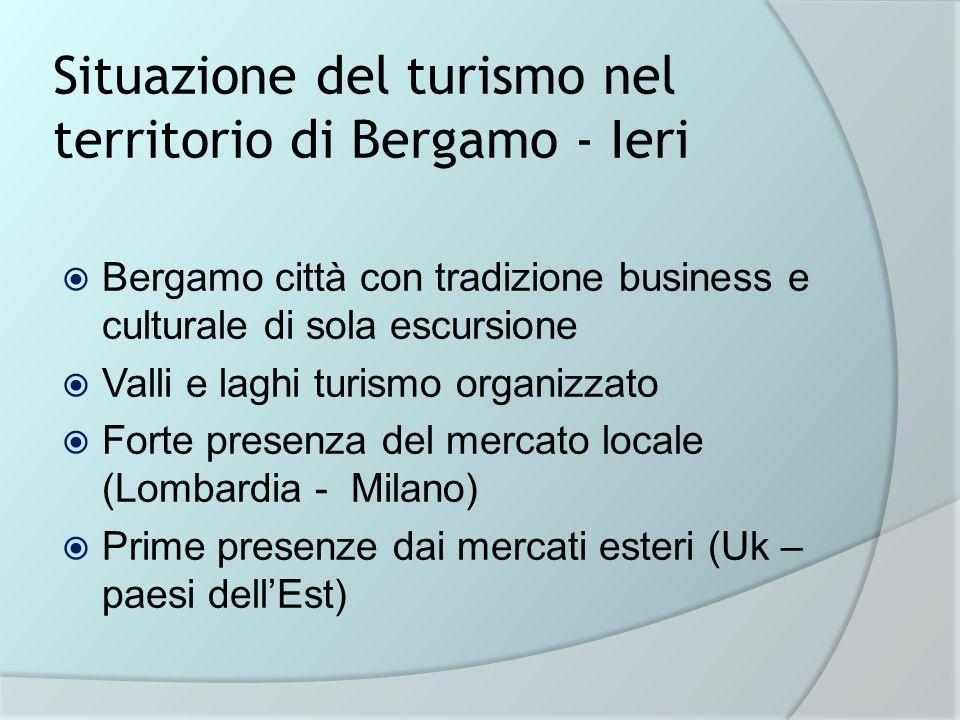 Situazione del turismo nel territorio di Bergamo - Ieri Bergamo città con tradizione business e culturale di sola escursione Valli e laghi turismo org