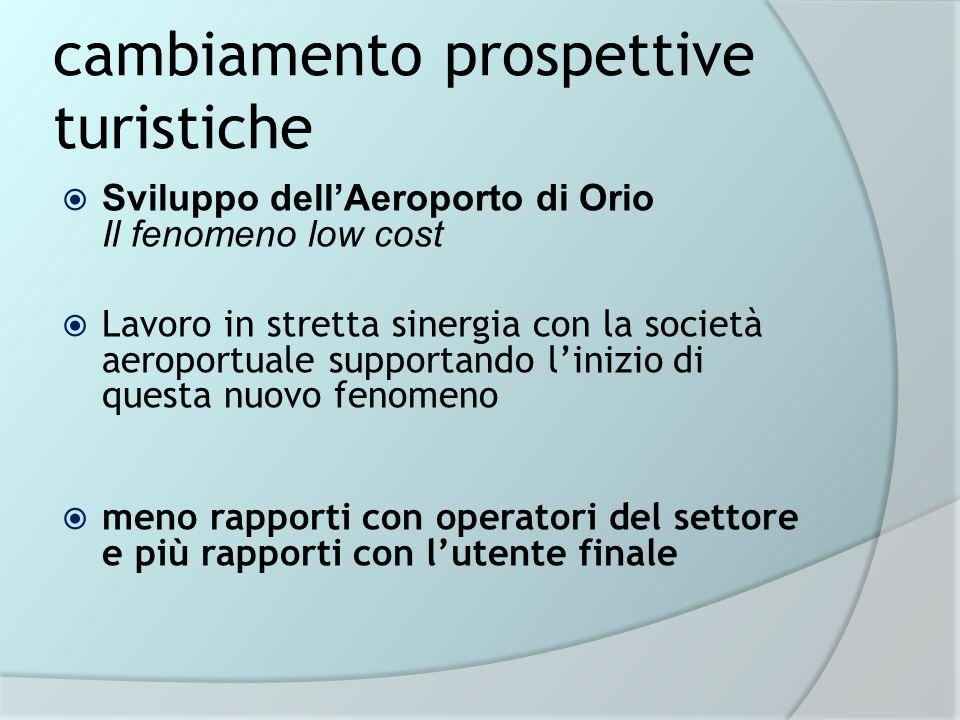 cambiamento prospettive turistiche Sviluppo dellAeroporto di Orio Il fenomeno low cost Lavoro in stretta sinergia con la società aeroportuale supporta