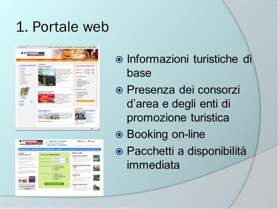 1. Portale web Informazioni turistiche di base Presenza dei consorzi darea e degli enti di promozione turistica Booking on-line Pacchetti a disponibil