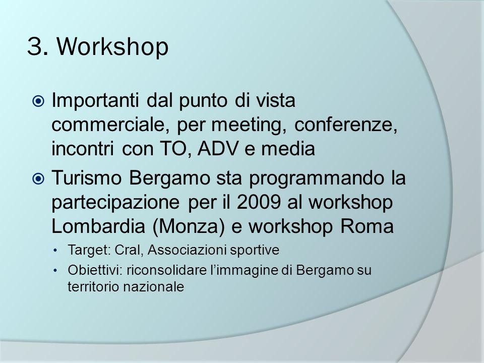 3. Workshop Importanti dal punto di vista commerciale, per meeting, conferenze, incontri con TO, ADV e media Turismo Bergamo sta programmando la parte