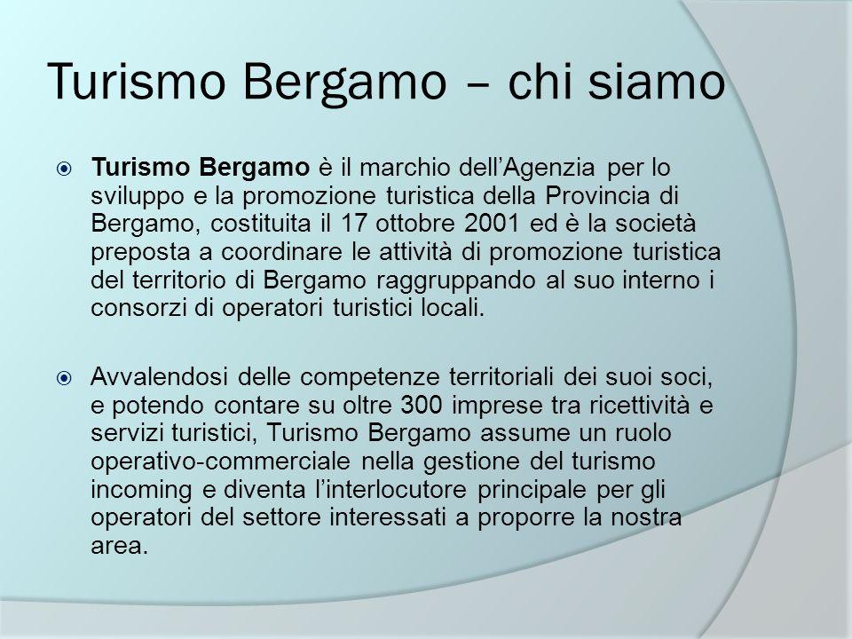 Turismo Bergamo – chi siamo Turismo Bergamo è il marchio dellAgenzia per lo sviluppo e la promozione turistica della Provincia di Bergamo, costituita