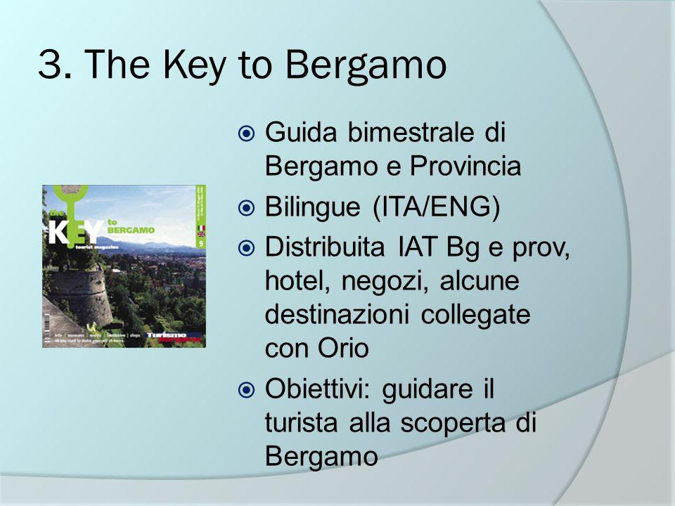 3. The Key to Bergamo Guida bimestrale di Bergamo e Provincia Bilingue (ITA/ENG) Distribuita IAT Bg e prov, hotel, negozi, alcune destinazioni collega