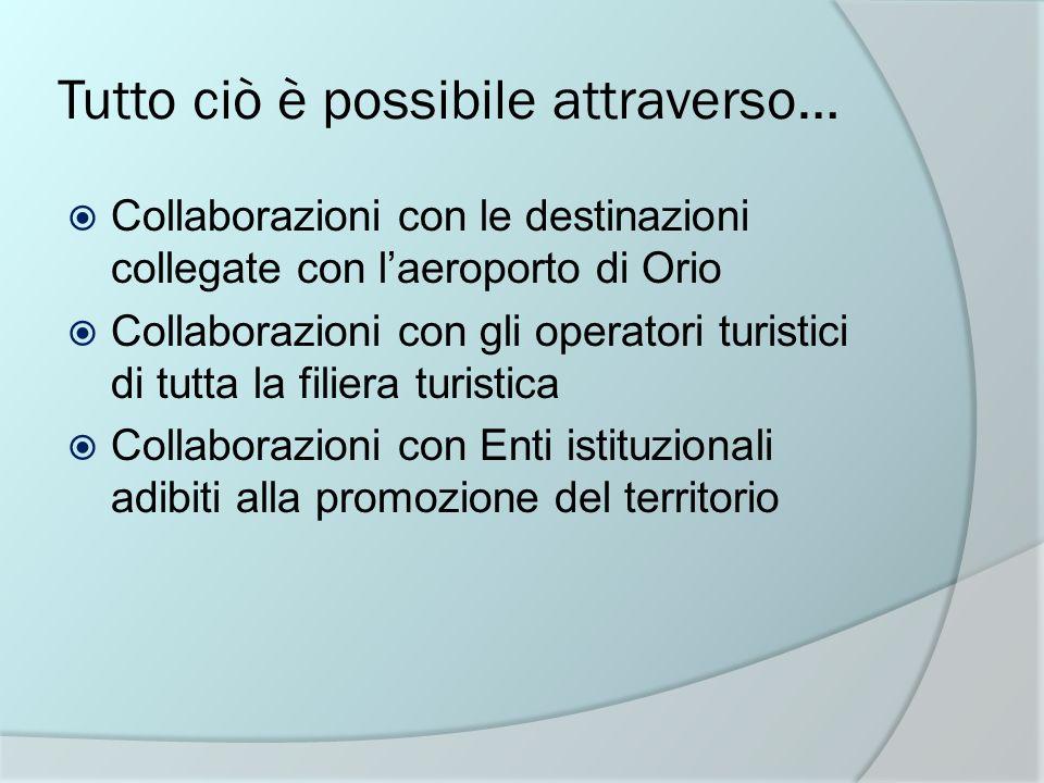 Tutto ciò è possibile attraverso… Collaborazioni con le destinazioni collegate con laeroporto di Orio Collaborazioni con gli operatori turistici di tu