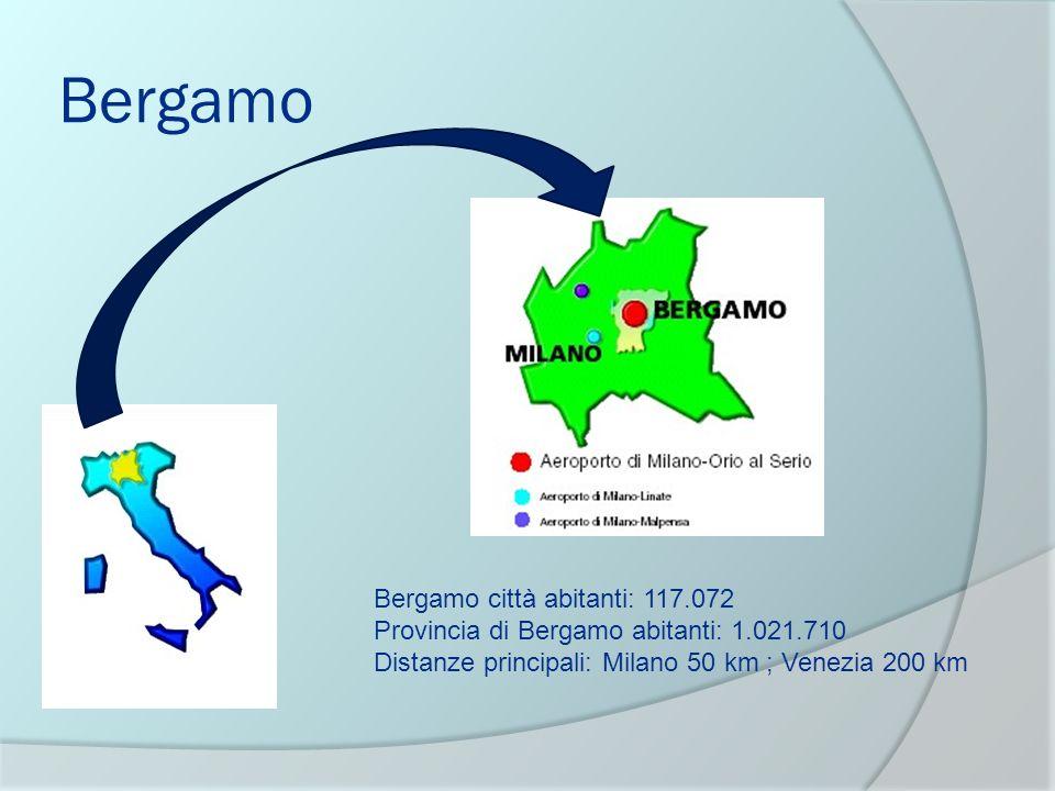 Bergamo Bergamo città abitanti: 117.072 Provincia di Bergamo abitanti: 1.021.710 Distanze principali: Milano 50 km ; Venezia 200 km