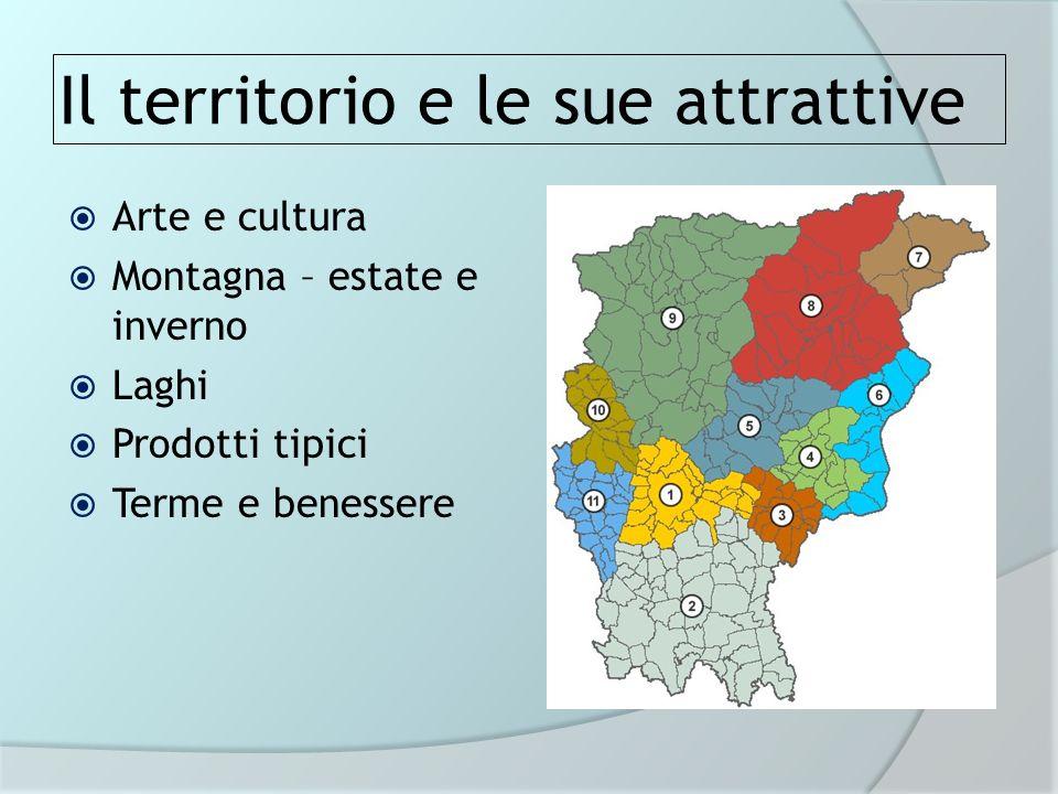 Il territorio e le sue attrattive Arte e cultura Montagna – estate e inverno Laghi Prodotti tipici Terme e benessere